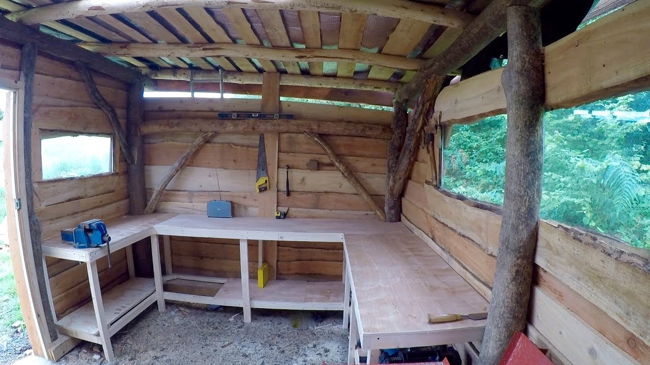 Roundwood timber framed shed part 11 work bench - YouTube