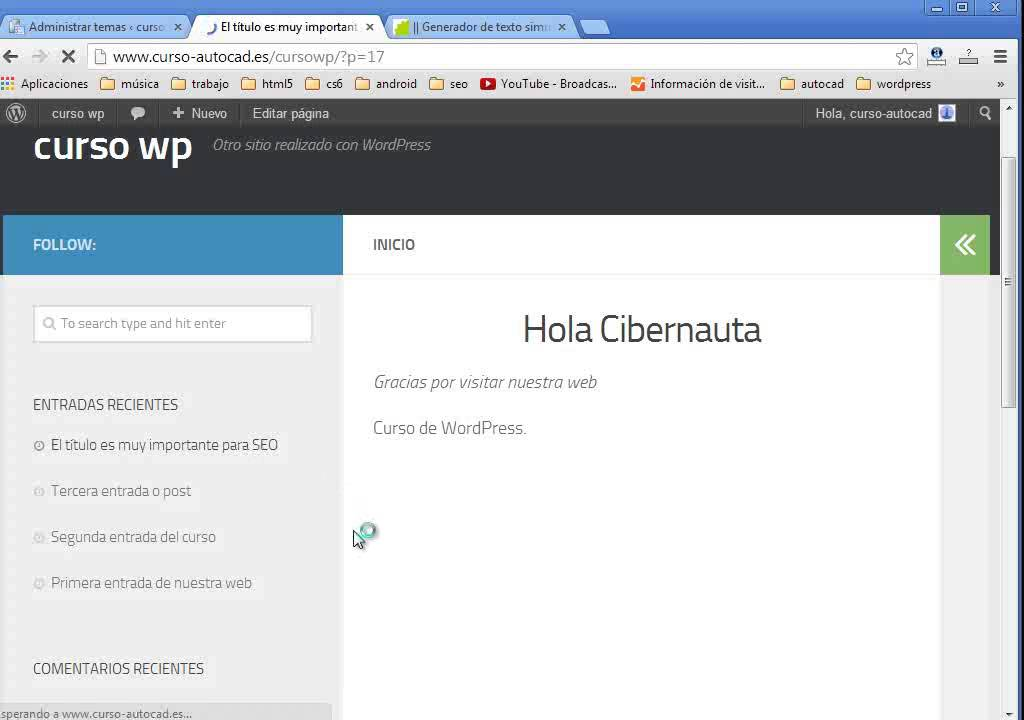 cambiar el tema en wordpress con solo un click - YouTube
