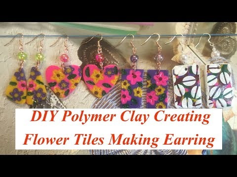 How to Creating Polymer Flower Tiles || Earring making Ideas || Creative cj