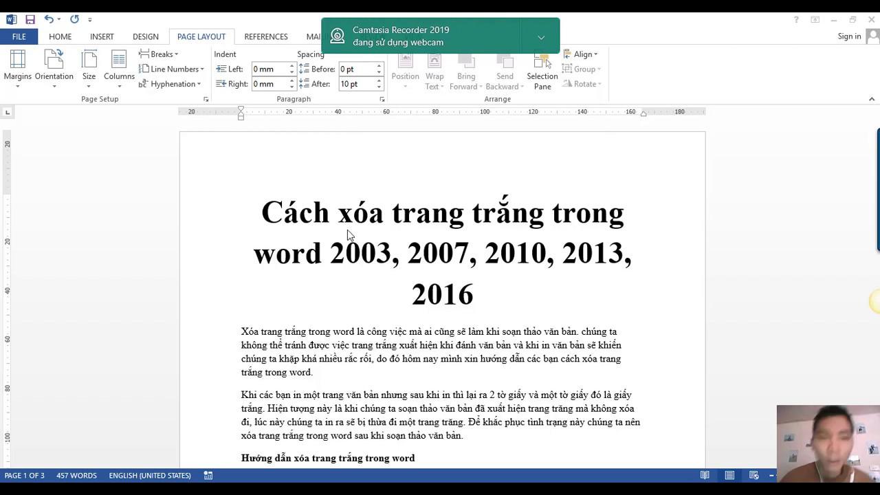 Cách xóa trang trắng trong word 2013