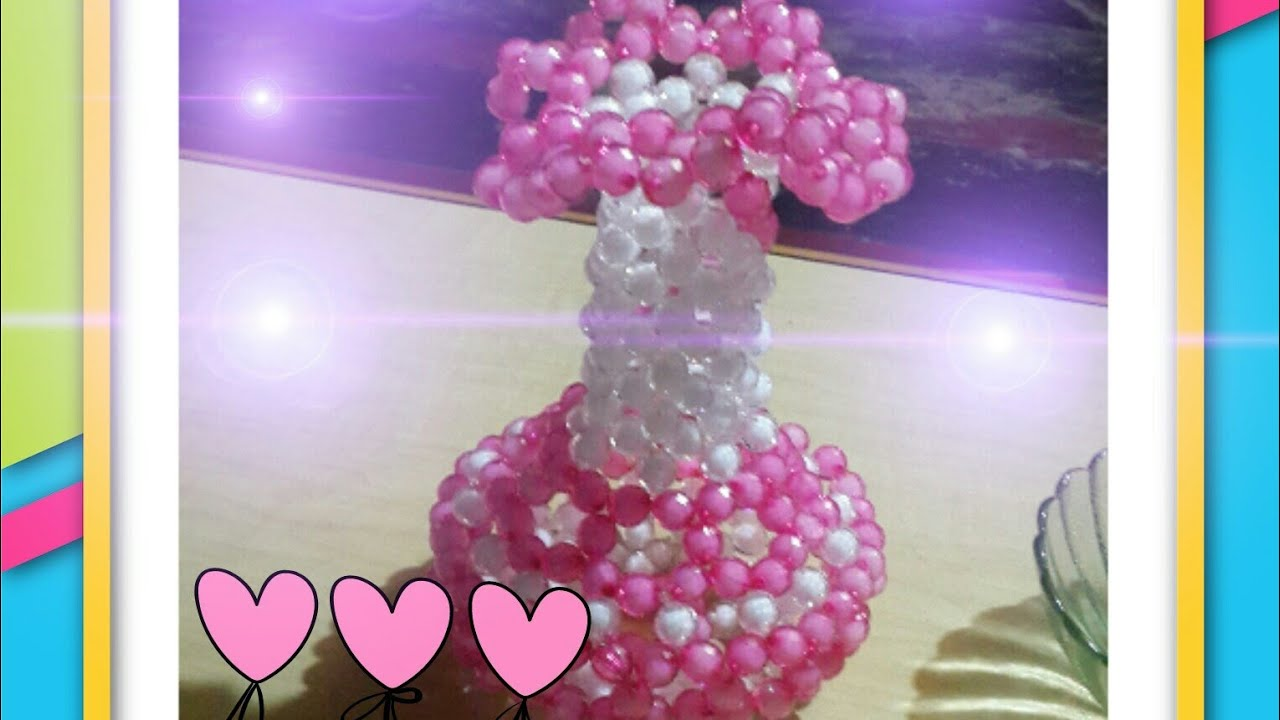 Download how to make flower vase/putir fuldani/how to make beaded flower tob/beaded craft making