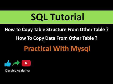 Copy Table Structure And Table Data From Other Table In SQL Practical With Mysql