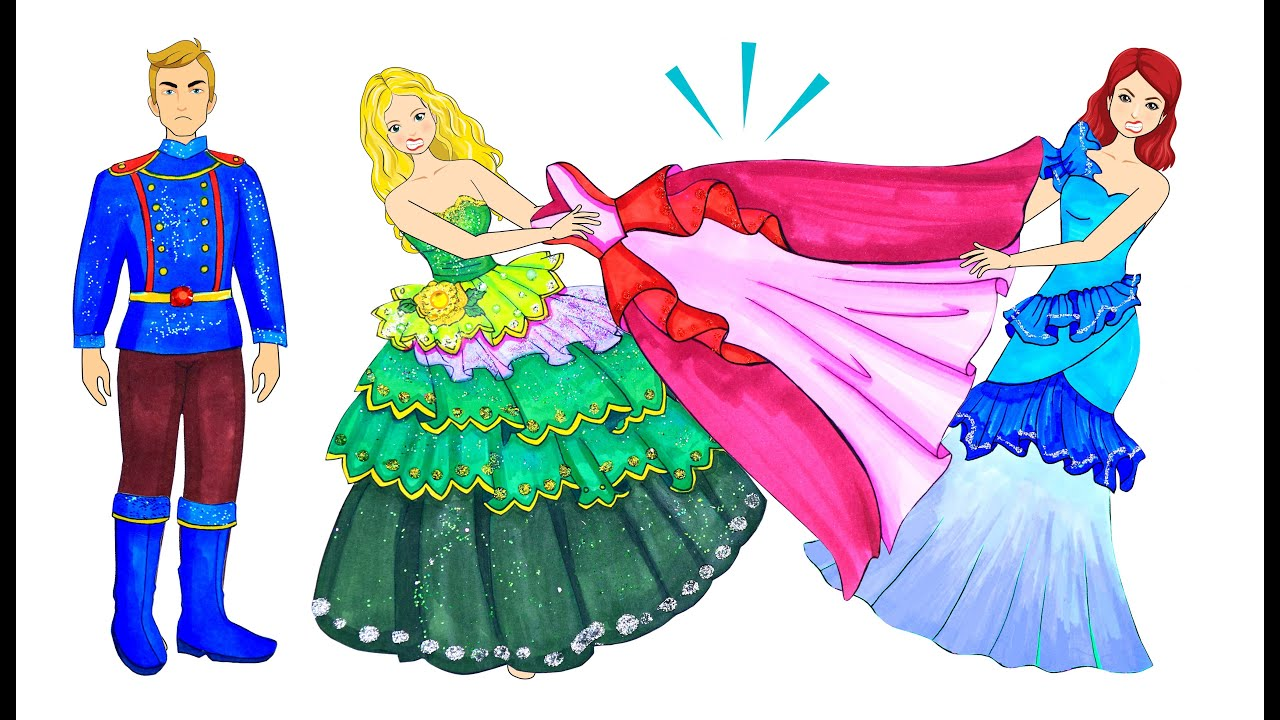 [DIY] Paper Dolls Lose Her Own Beautiful Dress at Party! Beautiful Dresses Handmade Papercrafts