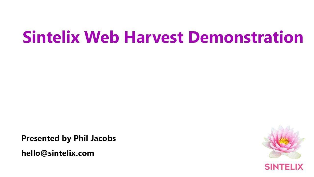 Sintelix Web Harvest OSINT Demonstration