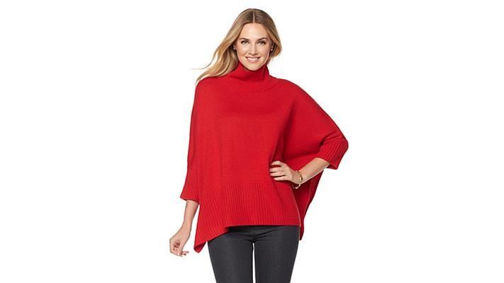 Jones New York Turtleneck Poncho Sweater - YouTube
