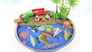 Learn Names of Sea Animals For kids DIY Mini Beach Ocean sand Sea Animals with Dolphin Shark Lobster