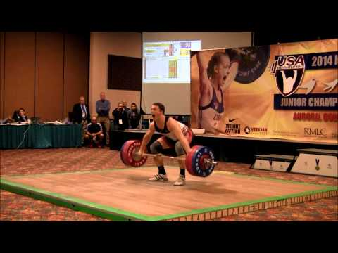 Ian Wilson 170kg snatch and 205kg Clean and Jerk at 2014 Junior Nationals