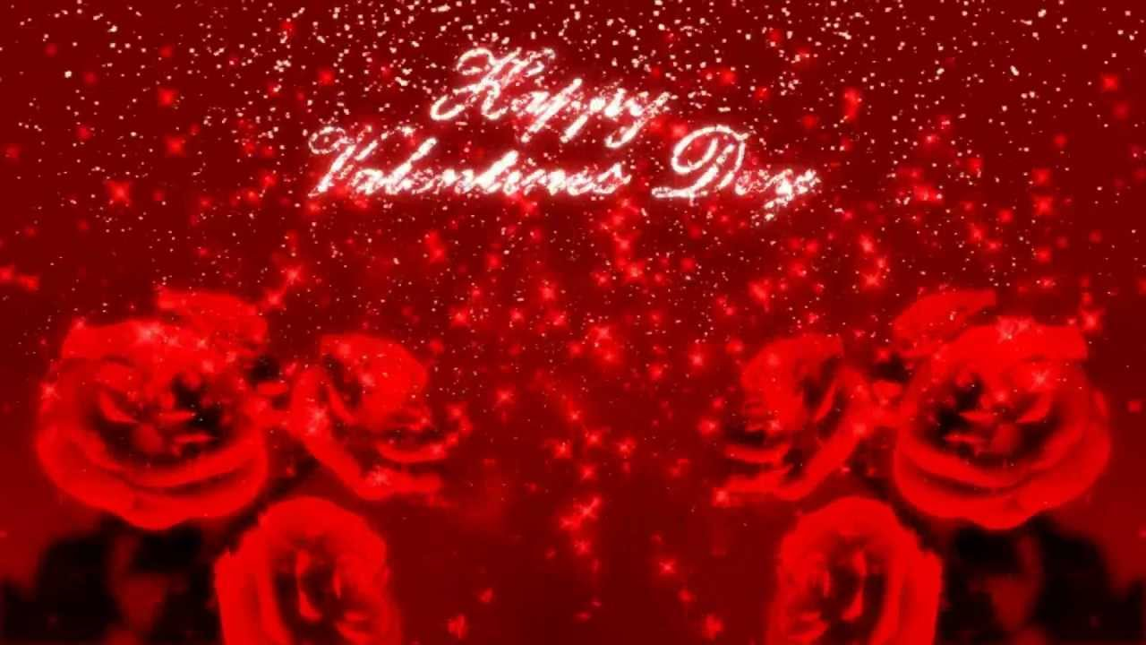 Happy Valentine S Day Glitter Background With 3d Roses Motion