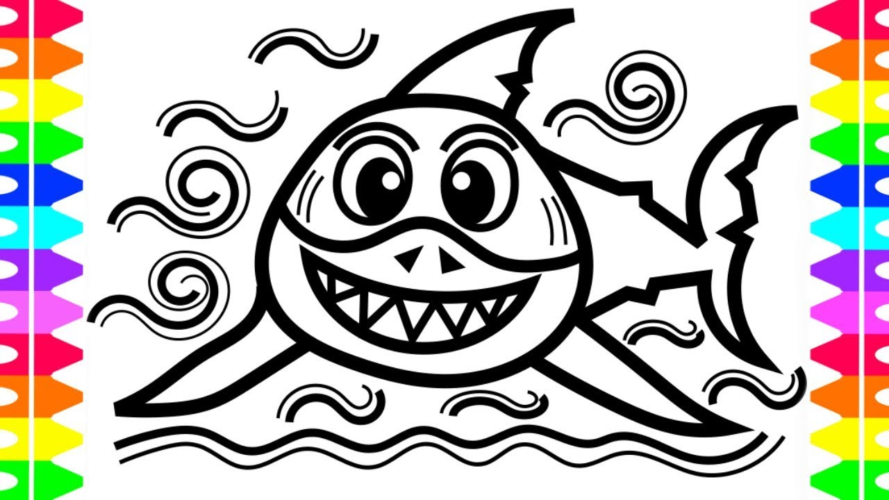 Great White Shark Coloring Page for Kids with Colored Markers /Learn ...