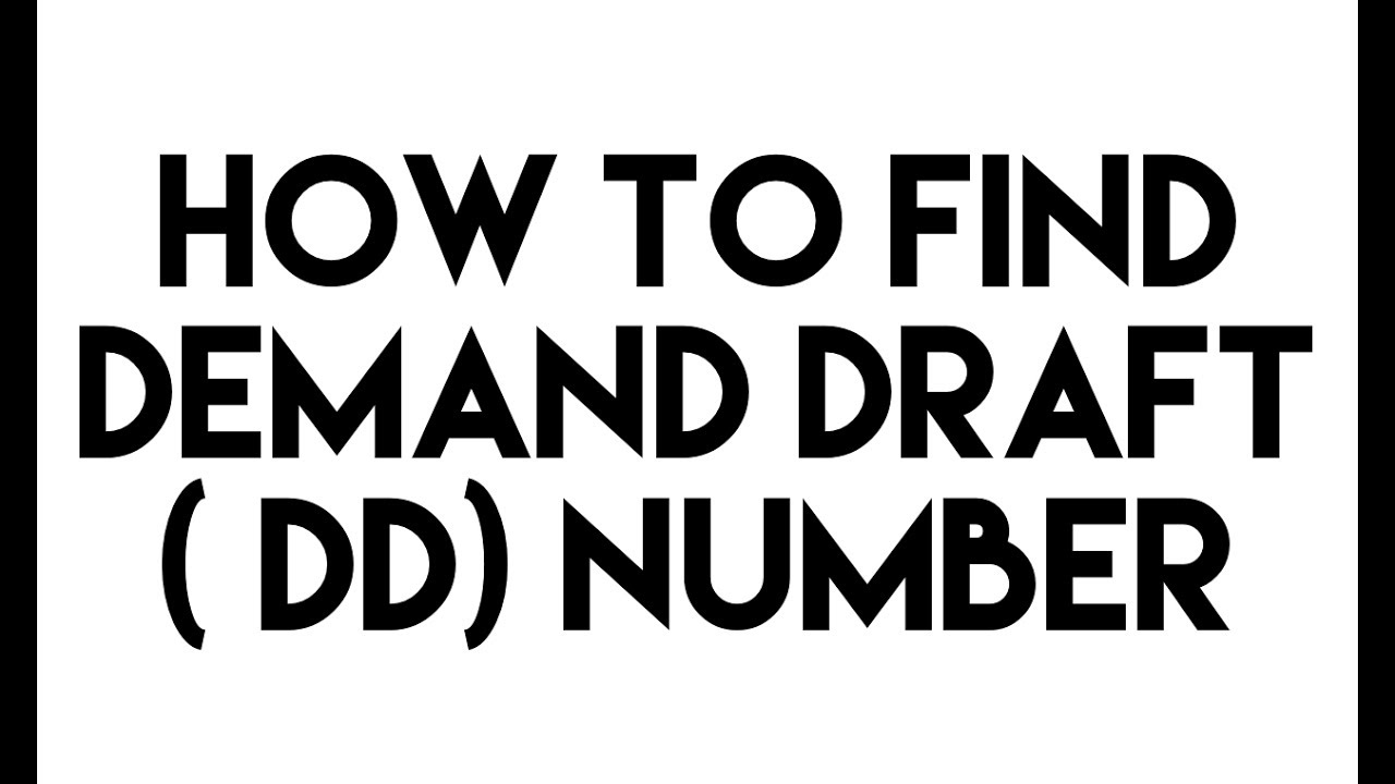 how to find dd number in a demand draft dd