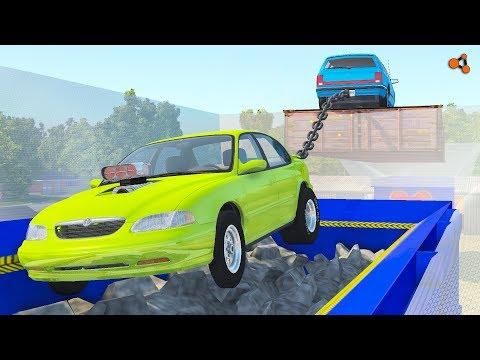 Beamng drive  Tug of War vs Car Shredder crashes giant chain crashes