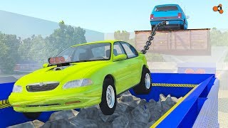 Beamng drive - Tug of War vs Car Shredder crashes