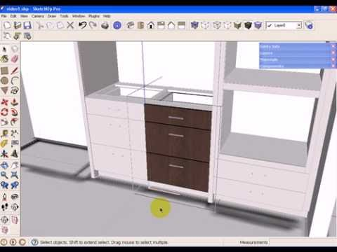 Sketchup kitchen design using dynamic component cabinets part 1 of 3 youtube Kitchen design software google sketchup