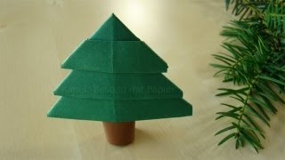 Origami Baum - Einfachen Tannenbaum falten - Weihnachtsbasteln mit Kindern