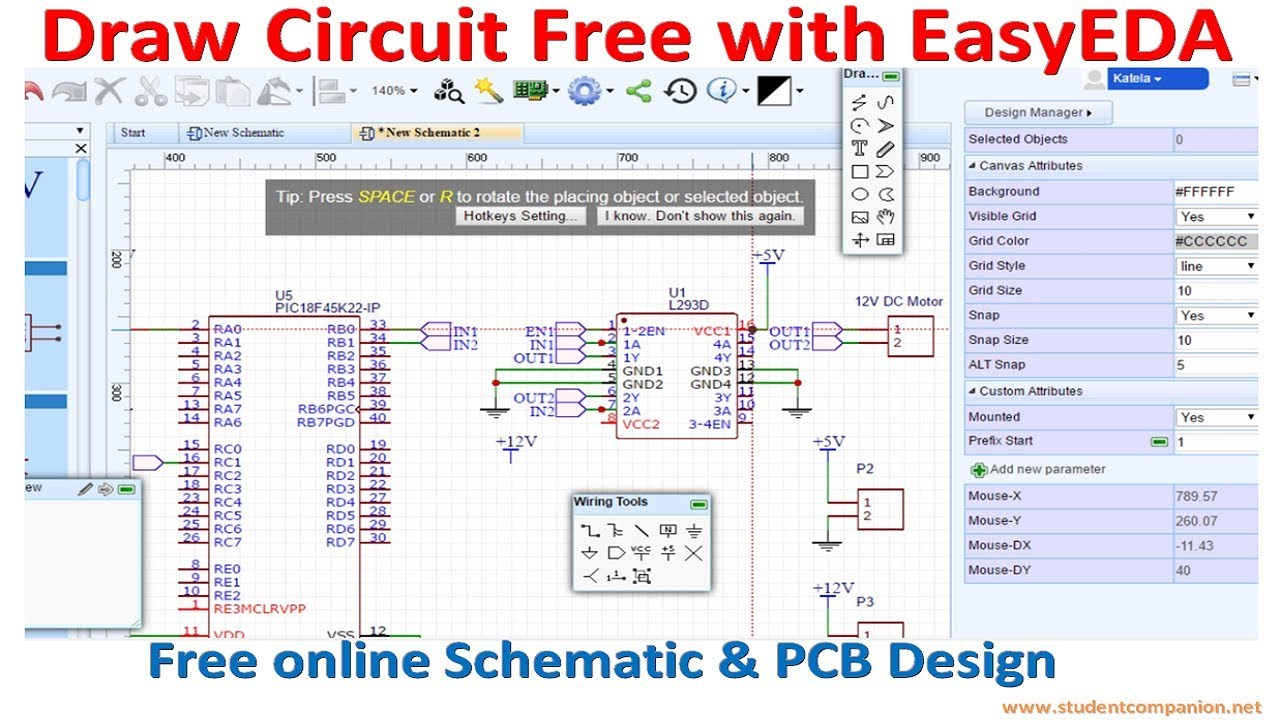 Draw Circuit Free with EasyEDA - YouTube