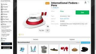 how to get International Fedora - Peru in Roblox