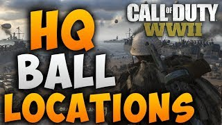 """Call of Duty WW2 Easter Eggs """"All HQ Ball Locations"""" COD WW2 HQ Baller Challenge Guide"""