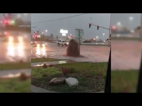 Water gushes near North Montana Avenue