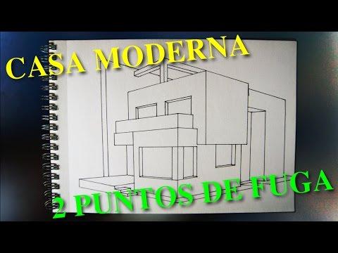 Casa Moderna 2 Puntos De Fuga Dibujo Y Entintado Perspectivas