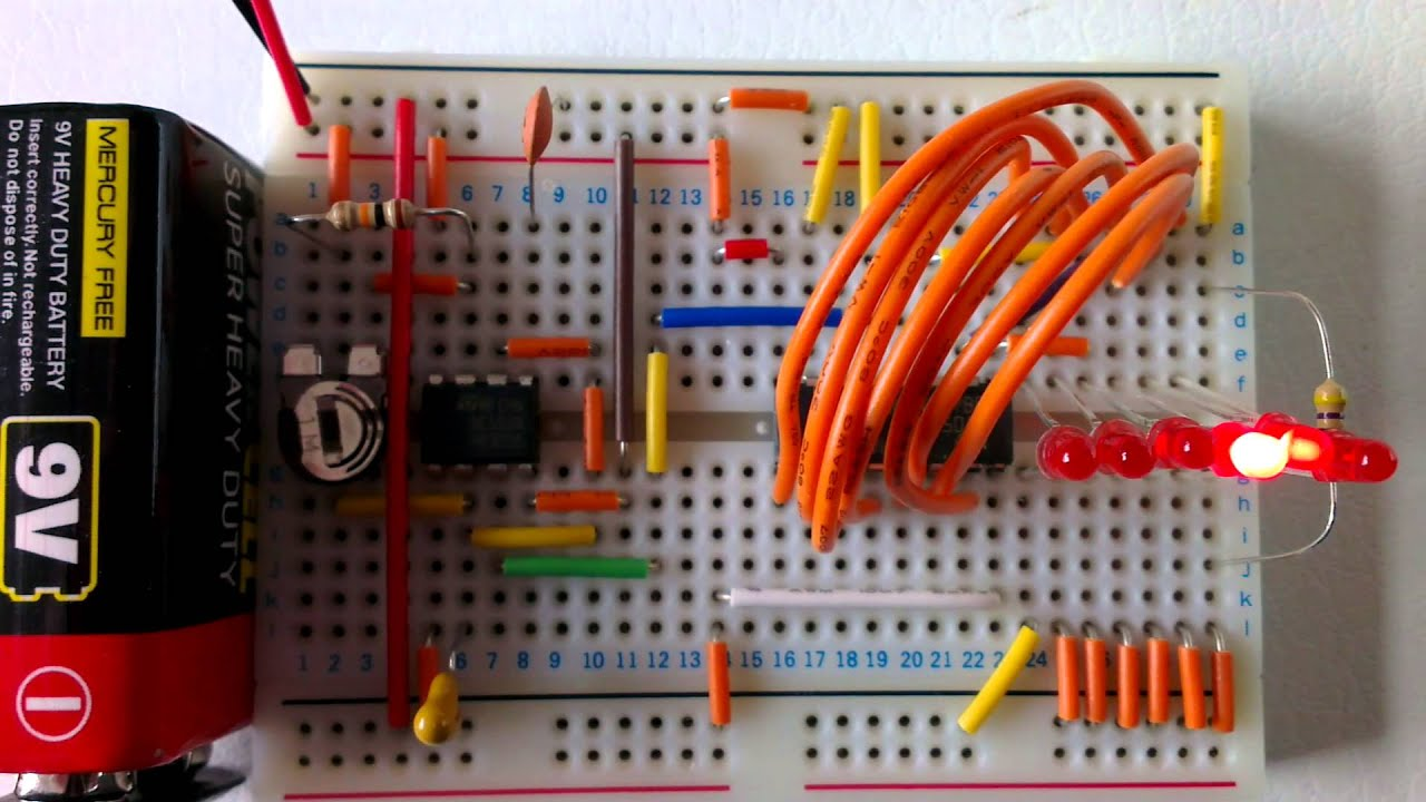 Decade Counter Circuit Diagram Using 7490 Dolphin Fuel Gauge Wiring Knight Rider With 555 Timer And 4017 Youtube
