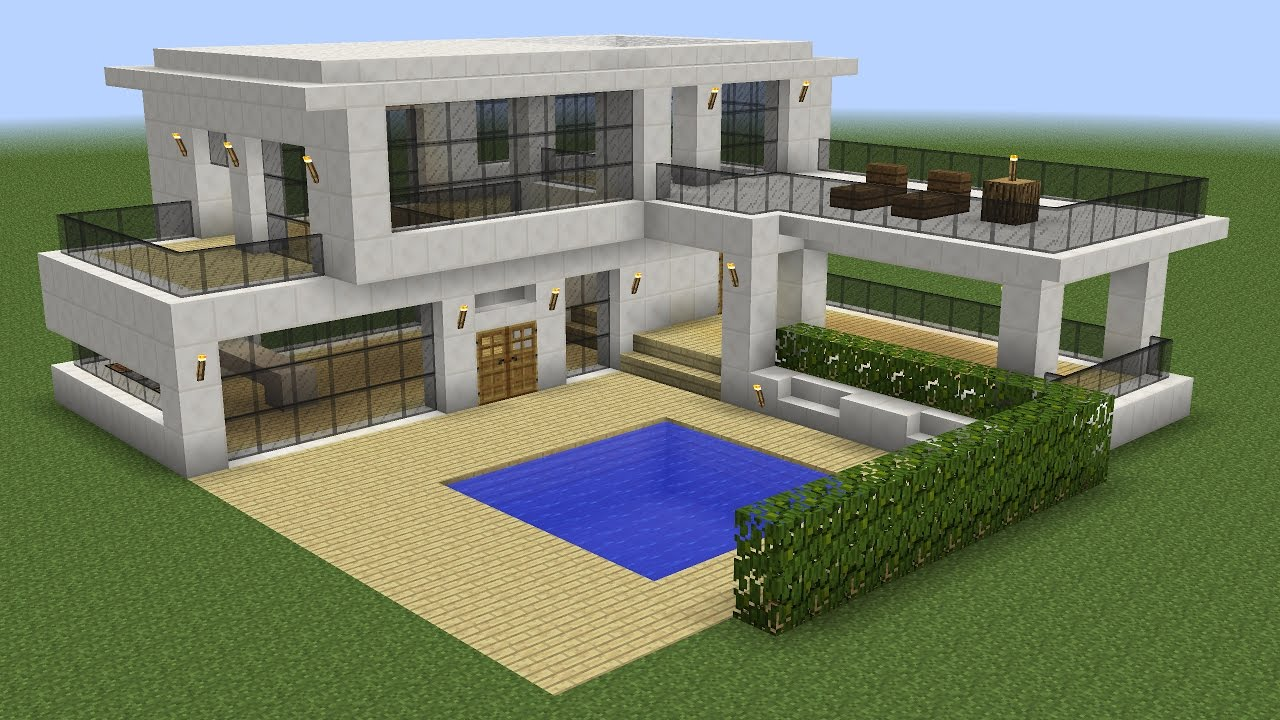Minecraft how to build a modern house 5 youtube for Big modern houses on minecraft