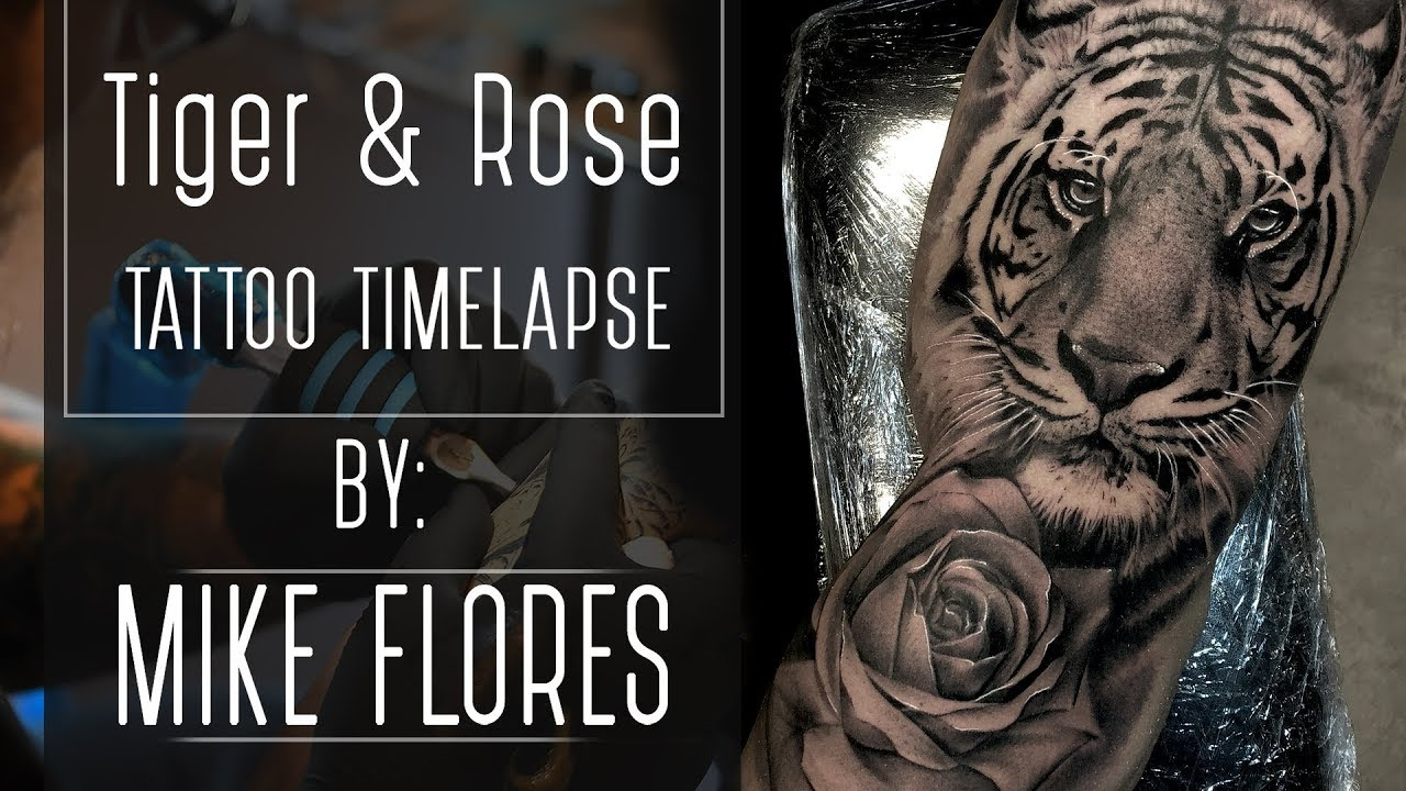 b8d3b644b Tattoo time lapse Realistic Rose and Tiger - tattoo by Mike Flores ...