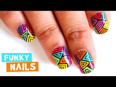 Passtime Nails# 05: Funky Nail Designs # No Fancy Nail Art Tools | Time-Lapse | DIYStarR.