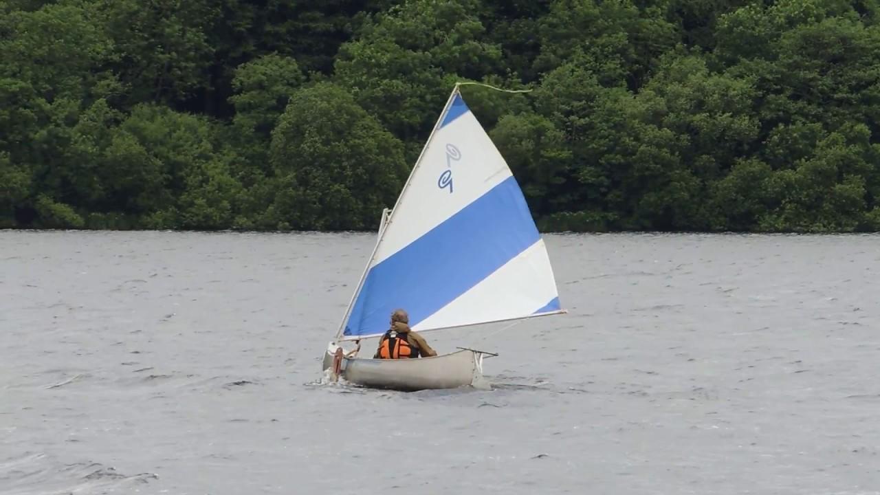 Grumman Canoe Sailing on Bala Lake - Sailing Canoe