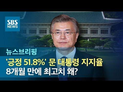 '긍정 51.8%' 문 대통령 지지율, 8개월 만에 최고치 왜? / SBS / 주영진의 뉴스브리핑
