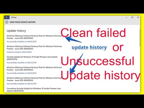 How to remove update history in windows 10