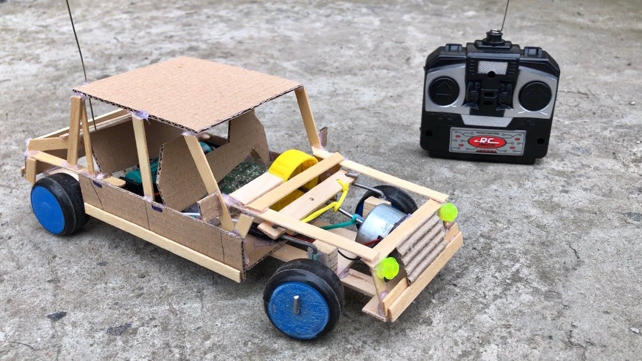 how to make amazing rc car from cardboard remote control car diy youtube. Black Bedroom Furniture Sets. Home Design Ideas