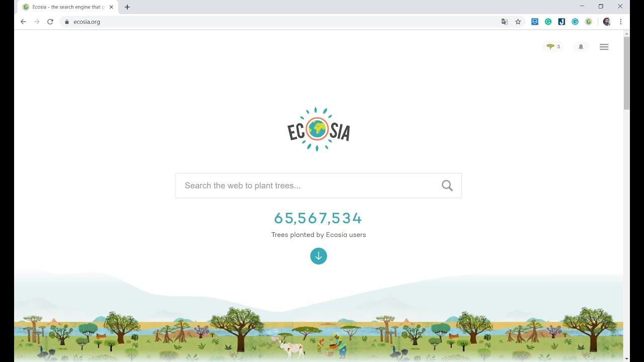 Ecosia – Công cụ tìm kiếm – 45 lượt tìm kiếm góp phần trồng lại 1 cây xanh cho trái đất