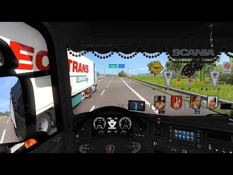 Euro Truck Simulator 2 (v1.28) - Scania Mega Mod V8 Sound in Double Trailers!