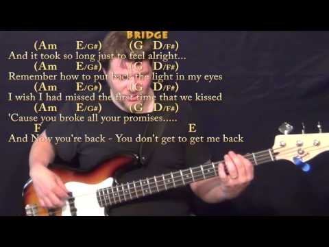 Jar of Hearts (Christina Perri) Bass Guitar Cover Lesson in C with Chords/Lyrics