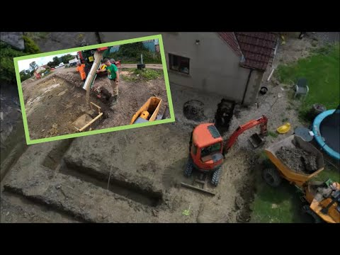 Digging foundations and pouring concrete. 14 07 21