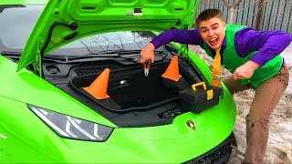 Mr. Joe on Broken Lamborghini Huracan arrived in Car Service & Repair Sport Car in Race for Kids