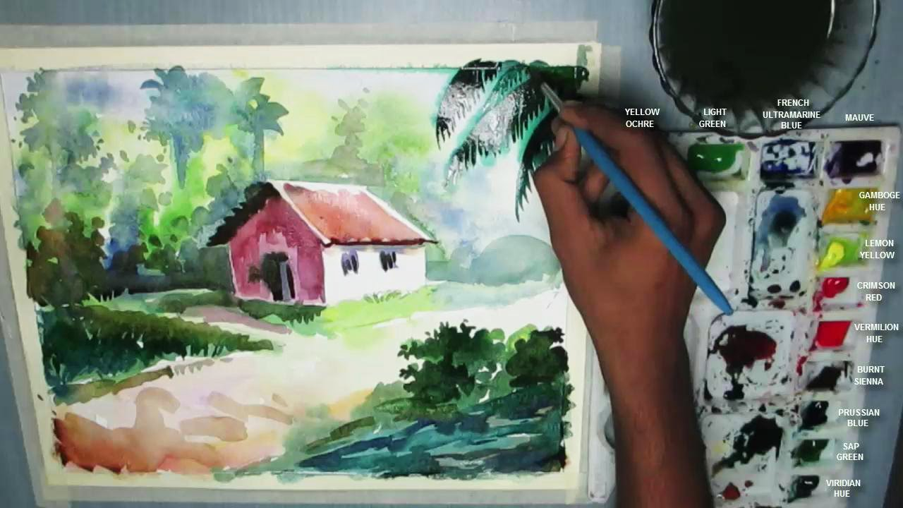 How to Draw a House Landscape in Watercolor | step by step - YouTube