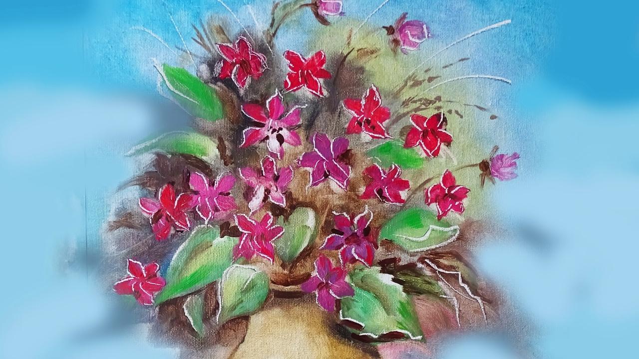 Fiori in vaso lezione di pittura a olio how to draw for Fiori dipinti a olio
