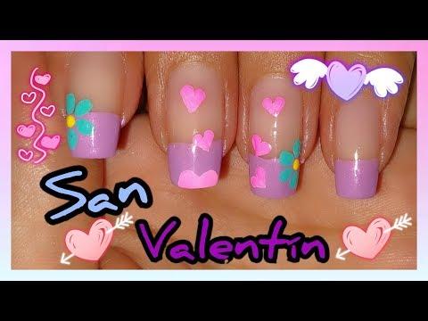 DECORACION DE UÑAS FLOR Y CORAZONES | SAN VALENTIN  ♥♥♥ Andy Lo