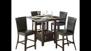 CorLiving DKR-207-Z1 5-Piece Tall Leather Dining Set, 36-Inch, Chocolate Black