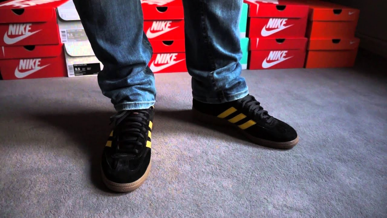 adidas spezial black yellow on feet review youtube. Black Bedroom Furniture Sets. Home Design Ideas