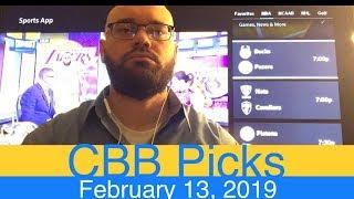 CBB Picks (2-13-19) | College Basketball NCAAB Expert Predictions Video CBK NCAAM | Men's NCAA Vegas