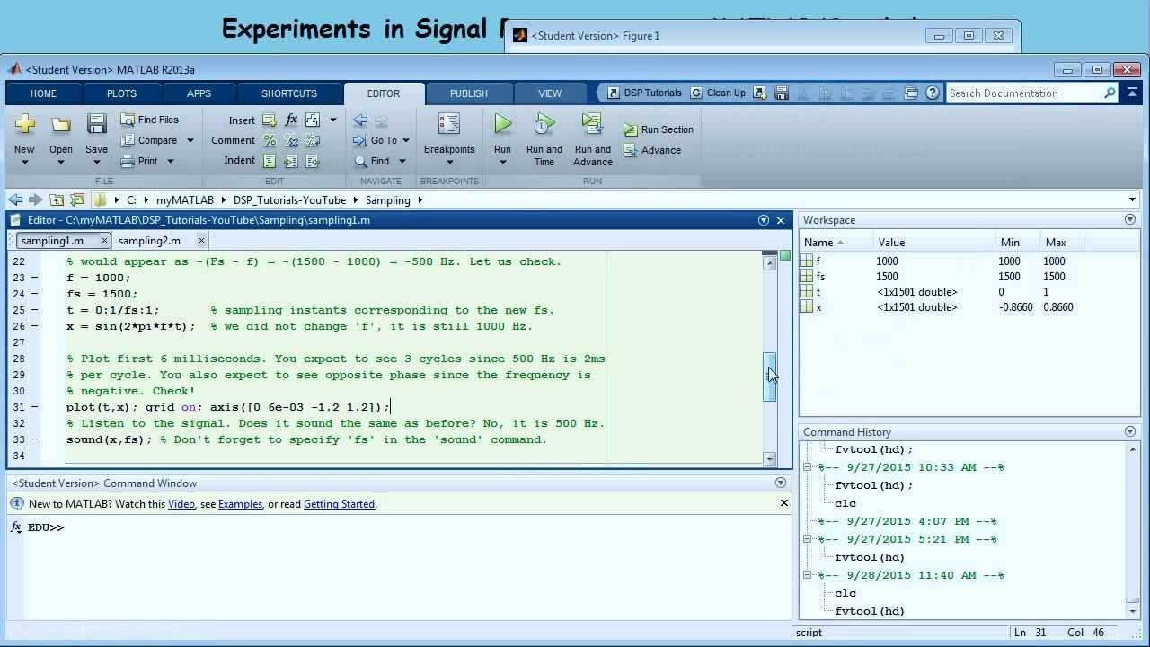 Experiments in Signal Processing using MATLAB/Simulink - Episode 1  (Sampling)