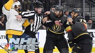 Did P.K. Subban get bit by Golden Knights' Edouard Bellemare? | NHL | NBC Sports