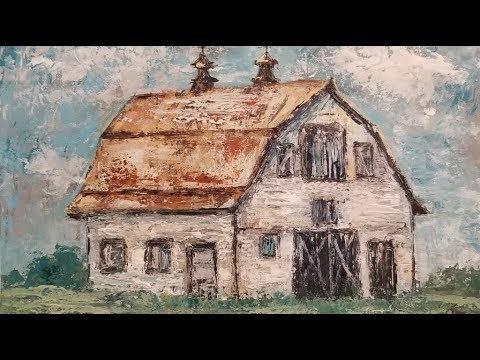 How to Paint a  BARN with Palette Knife Techniques Acrylic Painting Tutorial LIVE