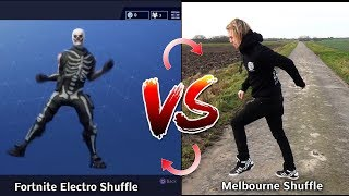 Fortnite Dance Electro Shuffle vs Real Life Melbourne Shuffle