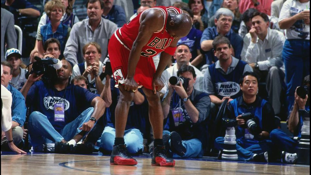 d0f9fc43b9ad Michael Jordan wearing Flu Game   BRed   Black Red Air Jordan 12 (XII)  retrospective