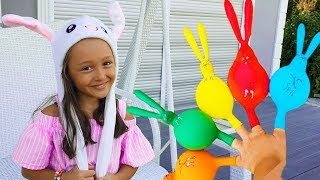 Öykü Looking for Colorful Rabbits and Finger Family Song