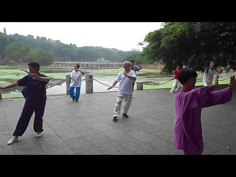 foreigner do tai ji in people park in Nanning China