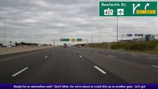 North America's Busiest Freeway:  Eastbound Ontario Highway 401 thru Toronto, KM 344 To Km 375
